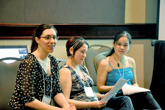 From left, McGill University researcher Maude Beaumier, Arviat research assistants Sarah Curley and Hilda Panigonak present their project at an Ottawa conference Feb. 10. (PHOTO BY SARAH ROGERS)