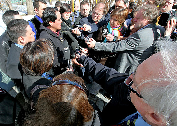 Pita Aatami, president of Makivik Corp., is surrounded by journalists at a March 2010 press conference in front of the National Assembly building in Quebec City, where he blasted the federal government for not making good on a promise to build the 1,000 new social housing units that he says Nunavik needed — and still needs today. (FILE PHOTO)