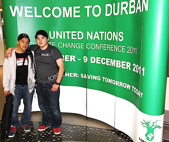 Jordan Konek and Curtis Kuunuaq are in Durban, South Africa, to observe the international climate talks now underway there. (PHOTO BY FRANK TESTER)