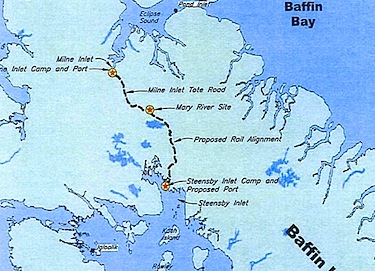 This map shows the proposed route of the railway Baffinland wants to build for its proposed Mary River iron mine. (IMAGE COURTESY OF BAFFINLAND)
