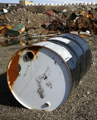 This old barrel is typical of the junk you can find at the abandoned metal dump in Iqaluit's North 40 area. The dump has been contaminating the Airport Creek for decades. (PHOTO BY DAVID MURPHY)