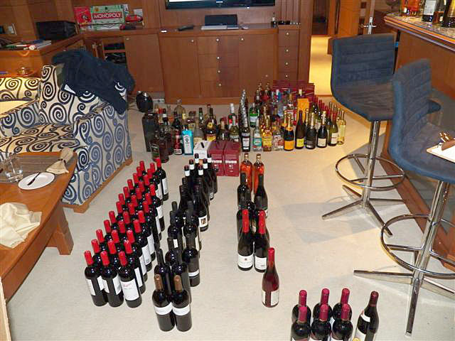 Here's a look at the wine and spirits seized on board the Fortrus this past September in Cambridge Bay. (FILE PHOTO)