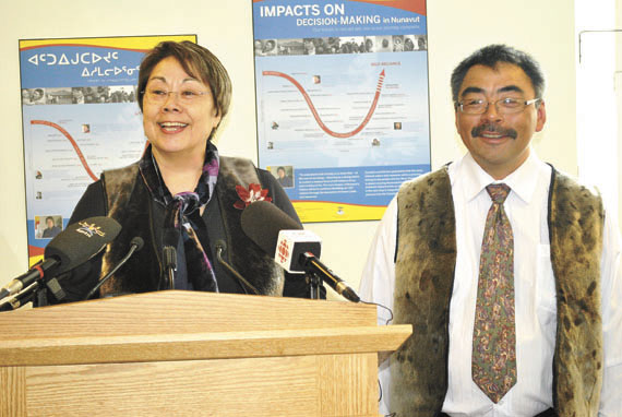 Premier Eva Aariak with David Akeeagok, the Government of Nunavut's chief negotiator for devolution, at a press conference held May 22 in Iqaluit to announce Akeeagok's appointment to the job. In addition to his negotiating duties, Akeeagok will continue serving as deputy minister of the GN's environment department. This past May 18, the federal government announced that Dale Drown will serve as Ottawa's chief negotiator for an agreement devolving responsibility for public lands and resources from the federal government to Nunavut.