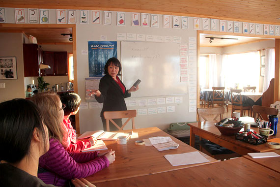 Instructor Myna Ishuluktak teaches a small group of students in Pirurvik's new Inuktitut instructor program. (PHOTO BY SAMANTHA DAWSON)