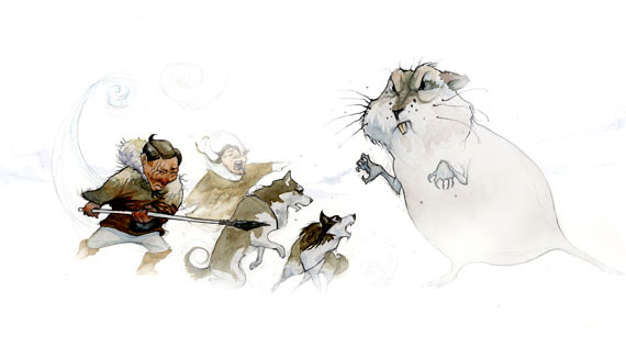 "The ""Little People"" hunt a big lemming in this illustration by Jonathan Wright from a book called Ava and the Little Folk. The children's book is the illustrator's first cover-to-cover work. (COURTESY OF INHABIT MEDIA)"