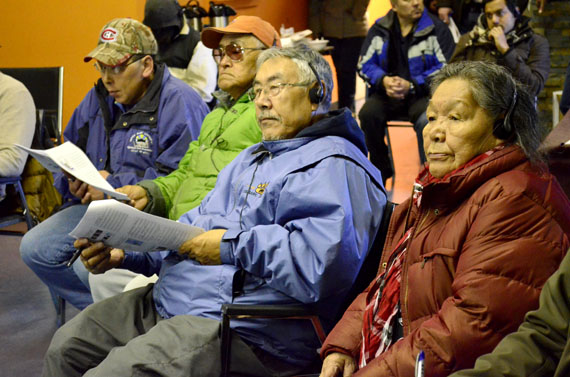 Alacie Joamie, Simon Nattaq and Mosesee Atagoyuk of Iqaluit at a meeting held by the Nunavut Impact Review Board in Iqaluit on the afternoon of Sept. 10 to seek opinions on the Qulliq Energy Corp.'s hydroelectric development plans for Iqaluit. (PHOTO BY JIM BELL)