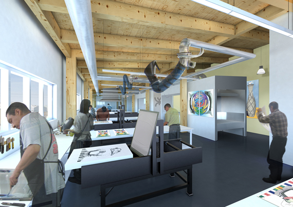 This is what the interior of Cape Dorset's new Kenojuak cultural centre and print shop would look like. (IMAGE COURTESY OF PANAQ DESIGN)