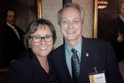 Gord Billard is pictured with Nunavut MP Leona Aglukkaq at an Oct. 7 gala in Ottawa where he received one of the Prime Minister's Awards for Teaching Excellence. (PHOTO COURTESY LEONA AGLUKKAQ/ FACEBOOK)