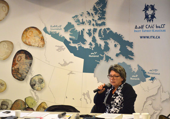 Mary Simon, former ITK president, Canadian Arctic ambassador and panelist at the language summit in Iqaluit this week, delivers her closing remarks. In them, she described a recommendation from the summit to adopt a standardized form of written Inuktut, based on Roman orthography. (PHOTO BY STEVE DUCHARME)