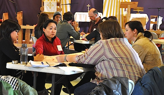 Iqaluit residents take part in a 2011 roundtable discussions on food security and poverty in 2011, hosted by Nunavut's Anti-Poverty Secretariat. A report later commissioned by the secretariat says Nunavummiut are too dependent on social assistance. (FILE PHOTO)