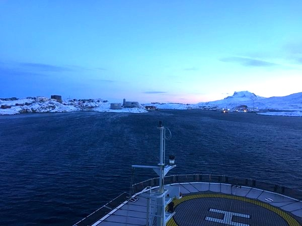 Ice pilot and navigator Duke Snider catches the view from the deck of the Nordica Oct. 31 as the icebreaker arrives in Nuuk, Greenland after transiting the NW Passage, in a photo he shared on Twitter.