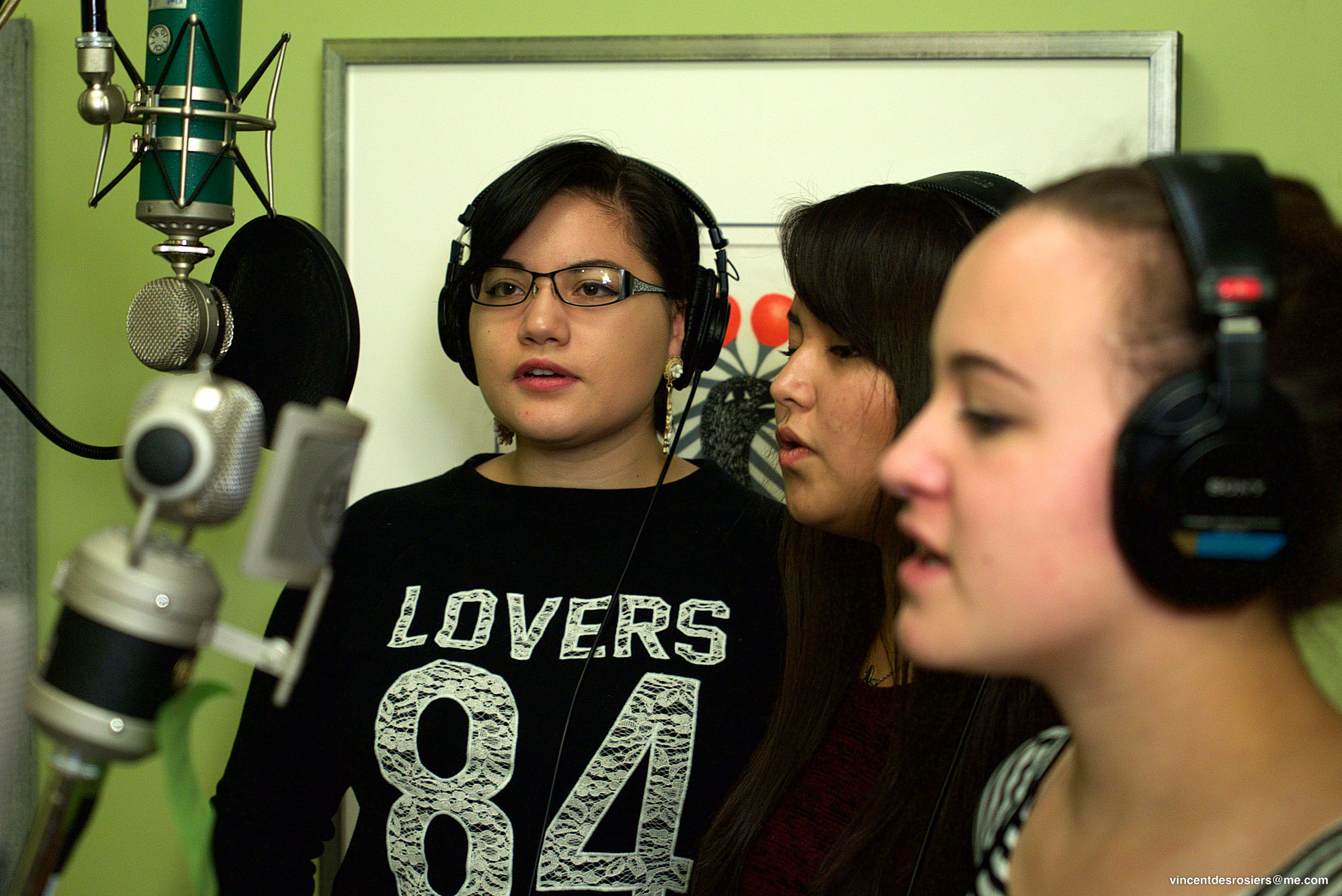 Inuksuk High School singers record their music. (PHOTO COURTESY OF THE QAGGIAVUUT SOCIETY)
