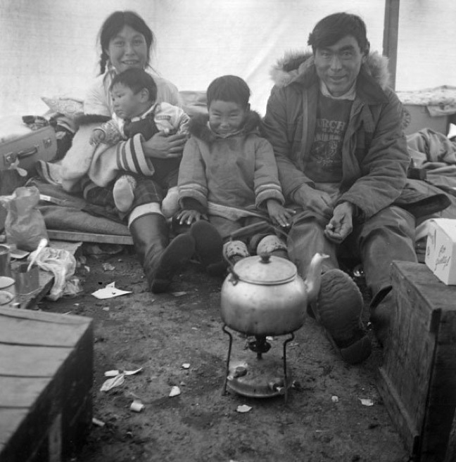 'Teatime with artist Kenojuak & husband Johnnybo & kids' - (Inuit) - Kinngait, Nunavut 1960, Library and Archives Canada. (PHOTO BY R. GILLIAT)