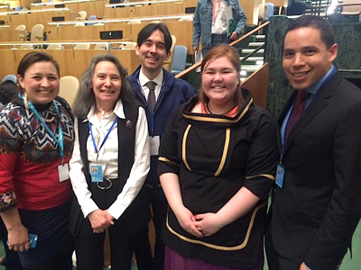 Inuit representatives Aili Liimakka Laue, Dalee Sambo, Tim Aqukkasuk Argetsinger, Sarah Jancke and Natan Obed May 9 at the United Nations' 15th Session of the Permanent Forum On Indigenous Issues. INAC Minister Carolyn Bennett announced Canada will lift its permanent objector status to the UN Declaration on the Rights of Indigenous Peoples, but ITK says her statement doesn't go far enough. (PHOTO COURTESY OF SARAH JANCKE)
