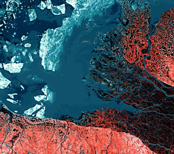 The Mackenzie River delta region, seen here in a NASA satellite image, covers one-fifth of Canada's landmass.