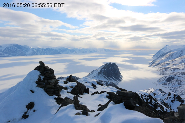 An image captured May 20, 2016, by the Oceans North camera at Mt. Herodier. If you go to the site now, you'll notice that the current image is obscured. That's because of snow partially covering the lens. It usually melts off within a few days.