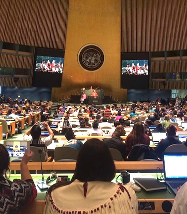 Delegates at the UNPFII listen to forum proceedings earlier this month at the UN building in New York City. (FILE PHOTO)