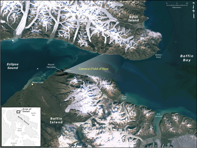 A map showing Eclipse Sound and the location of the camera at Mt. Herodier. Other cameras, at Guys Bight, to the right of Mt. Herodier, have also been installed to capture the spring sea ice break up as they did last year.