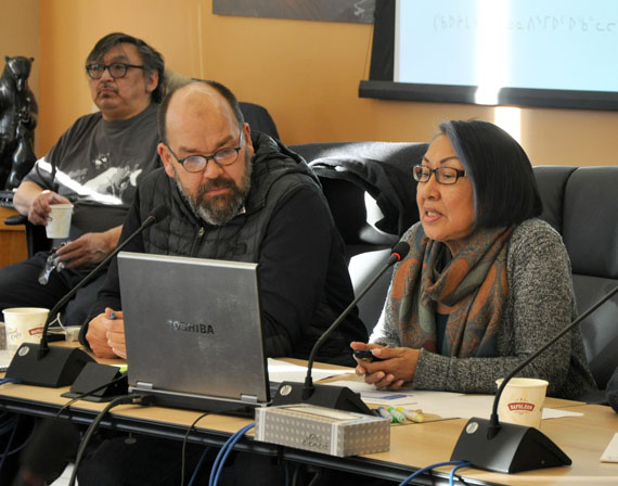Robbie Watt and Monica Ittusardjuat of the Atausiq Inuktut Titirausiq language group speak to KRG councillors in Kuujjuaq last week. The group has been invited to visit Wales to learn about that nation's language revitalization efforts. (PHOTO BY SARAH ROGERS)