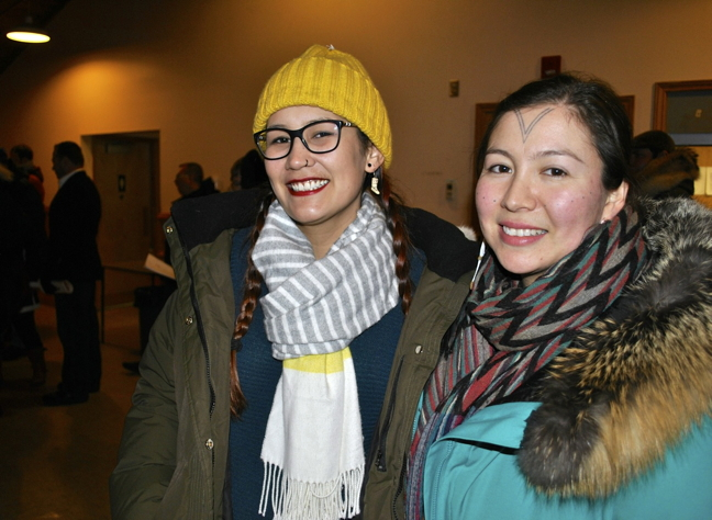 "Laura Arngna'naaq, director of finance for the Dechinta Centre for Research and Learning in the Northwest Territories, and filmmaker Alethea Arnaquq-Baril of Iqaluit, were among the ""youth leader"" speakers who gave their views on how to improve Canada from the perspective of Northern indigenous peoples at The Walrus Talks event in Iqaluit, Nunavut, March 25. (PHOTO BY PETER VARGA)"