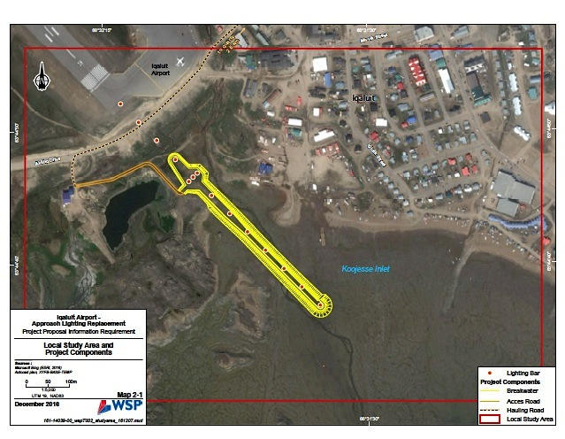 This map from the Iqaluit Airport-Approach Lighting Replacement project proposal shows where the new breakwater with approach lights would be located.