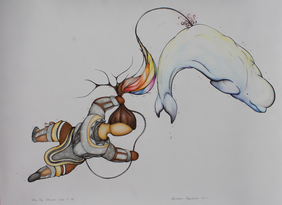 Alex Angnaluak's How the Narwhal Came to Be, in pen and pencil on watercolour paper. The piece placed first in the Senior Art category of this year's Indigenous Arts & Stories contest. (PHOTO COURTESY OF HISTORICA CANADA)