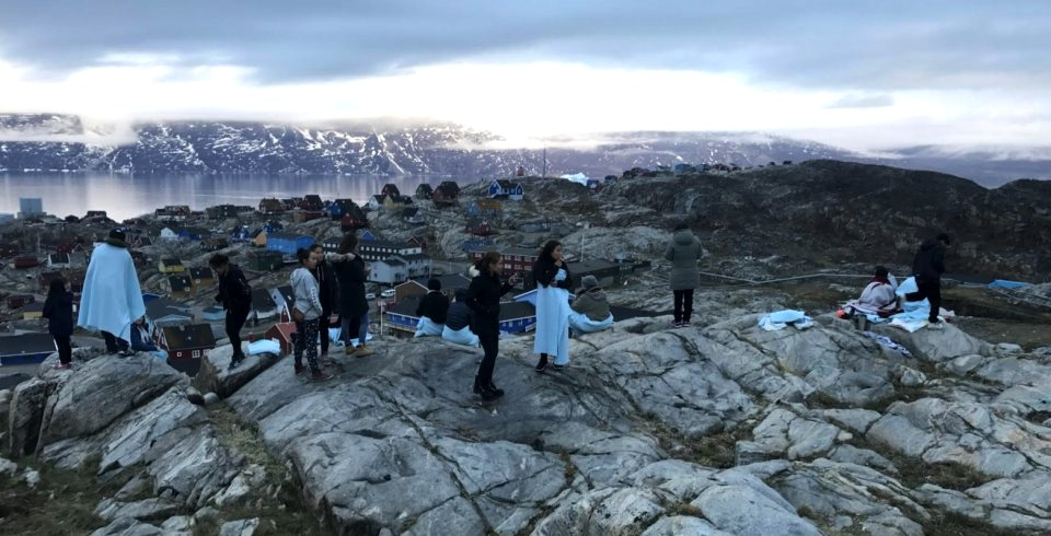In Uummannaq, Greenland, people head up to mountains above the community of about 1,200 people for safety after a tsunami warning during the night of June 18.  (PHOTO BY I. HEGELUND/ SERMITSIAQ.AG)
