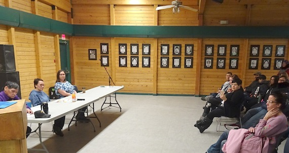 Harry Maksagak, Jeannie Ehaloak and Pamela Gross, candidates in the Nunavut electoral district of Cambridge Bay, sit before a crowd gathered for a candidates forum inside the Luke Novoligak Community Hall on the morning of Saturday, Oct. 28. (PHOTO BY JANE GEORGE)