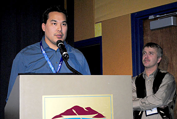 Pujjuut Kusugak, then the mayor of Rankin Inlet, speaking at the Nunavut Mining Symposium April 7, 2011, in Iqaluit. On Jan. 22, 2018, he'll become Nunavut's deputy minister of education. (FILE PHOTO)